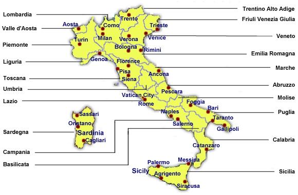 Oblasti Italie Regiony Italie Sicilie Toskansko Umbrie Benatsko